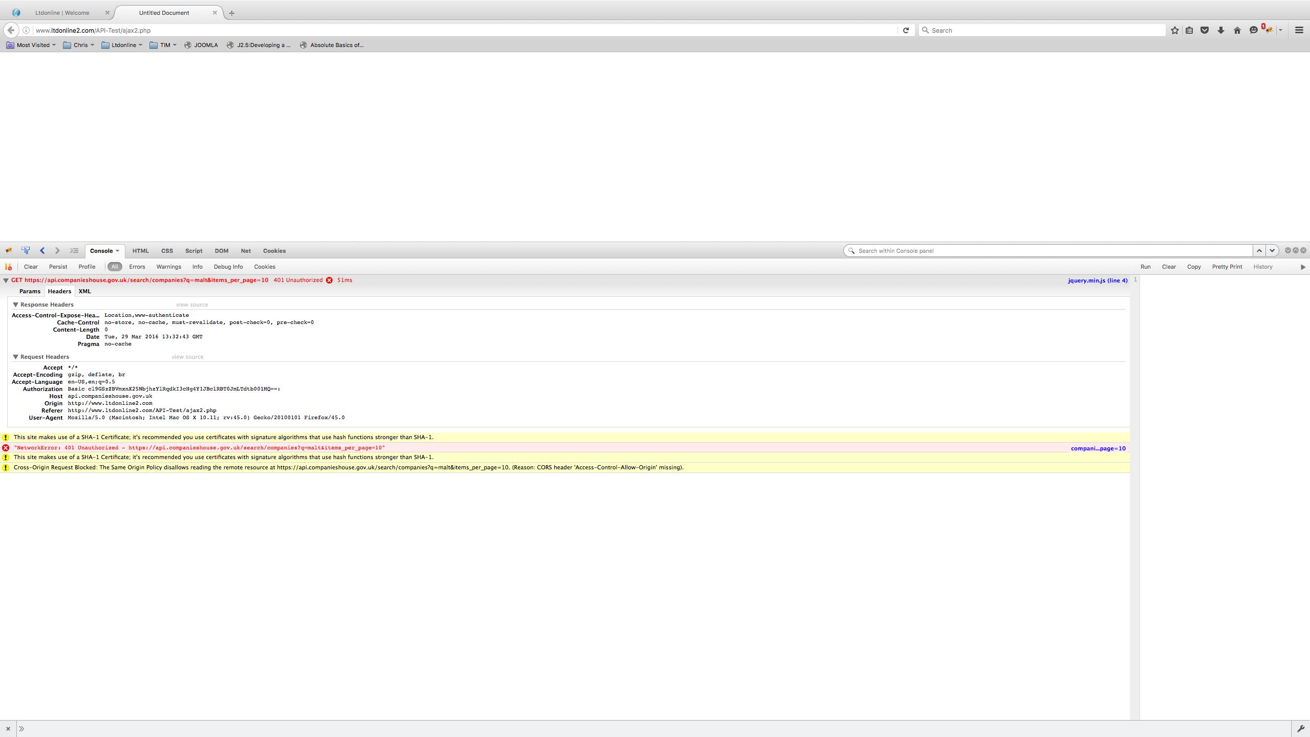 Ajax post to JSON API - API Issues - Companies House